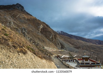 Beautiful mountain landscape with a small temple on the outskirts of Muktinath village, Nepal.