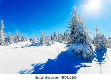 Beautiful mountain landscape and snowy paths in the snow with tourists