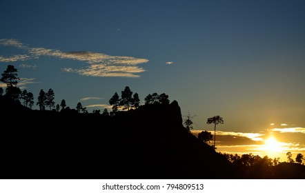 Beautiful mountain landscape at sunset, Pilancones, summit of Gran canaria, Canary islands