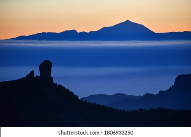Beautiful mountain landscape, sunset silhouette. View over Gran Canaria and the Atlantic to Tenerife. Canary island, Spain
