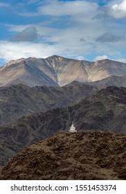 Beautiful mountain landscape taken from Stakna Monastery in Himalaya mountains in Ladakh