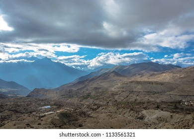 Beautiful mountain landscape in the vicinity of Muktinath in cloudy day, Nepal.