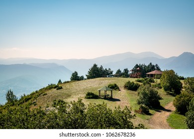 Beautiful mountain landscape view with a picnic rest area in Skopje Macedonia.