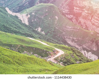 Beautiful mountain landscape with a view of the serpentine road