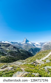 Beautiful mountain landscape with views of the Matterhorn peak in Zermatt, Switzerland.