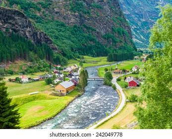 Beautiful mountain landscape with a village, Norway