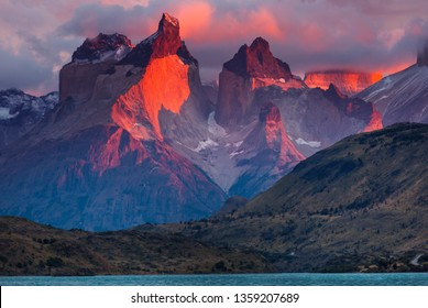 Beautiful mountain landscapes in Torres Del Paine National Park, Chile.