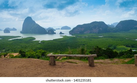 Beautiful Mountain on sea at Samet Nangshe Viewpoint, Phang Nga, Thailand