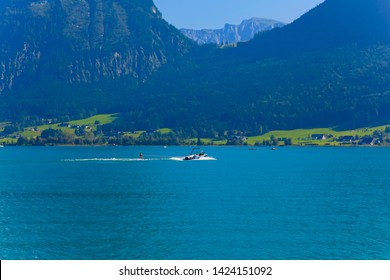 "Beautiful mountain panorama near St. Wolfgang am ""Wolfgangsee"" with water-skiing"