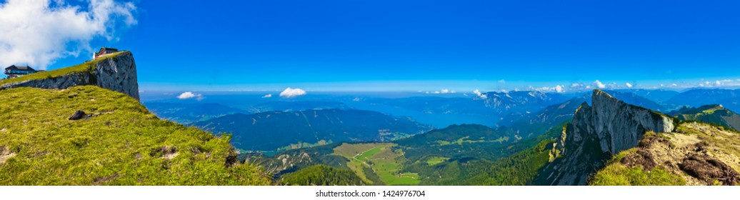 "Beautiful mountain panorama near St. Wolfgang am ""Wolfgangsee""."