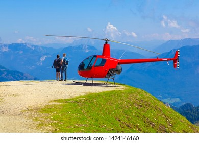 "Beautiful mountain panorama at the ""Wolfgangsee"" with a helicopter in Austria."