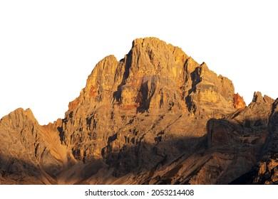 Beautiful mountain peak of the Dolomites at sunset, isolated on white background. Croda Rossa D'Ampezzo or Hohe Gaisl, Trentino-Alto Adige and Veneto, Bolzano and Belluno province, Italy, Europe.