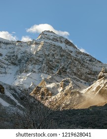 Beautiful mountain peaks in the upper reaches of the valley in the Huanglong National Park near Jiuzhaijou after snowfall - SiChuan, China