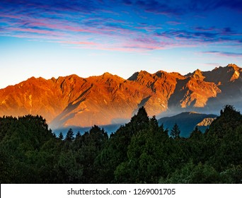 Beautiful mountain range of Helambu in Nepal at sunrise