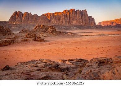 Beautiful mountain range in Wadi Rum, Jordan