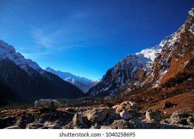Beautiful mountain range way to Yumthang valley, sikkim, India.