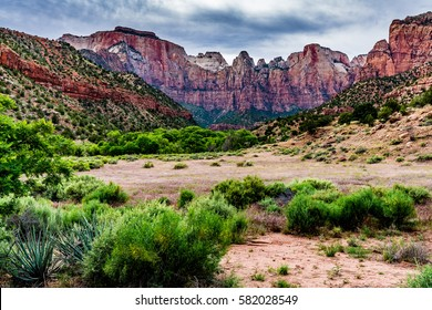 Beautiful Mountain Ranges, Cliffs, Peaks, and Rock Formations in Zion National Park, Utah.