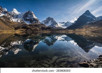 Beautiful mountain reflection, Nevado Condoriri peak, Bolivia, South America