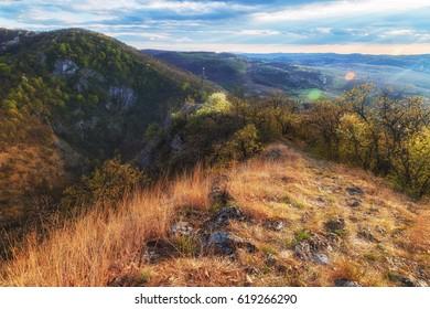 Beautiful mountain ridge in Bukk mountains in Hungary at sunset