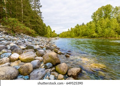 Beautiful Mountain River at the Capilano Park. North Vancouver, British Columbia, Canada.