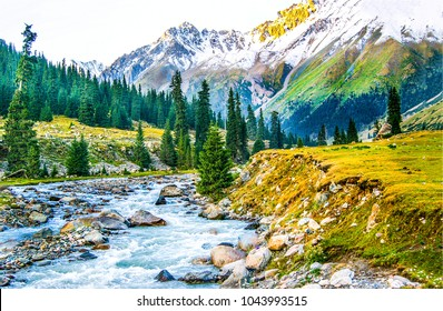 Beautiful mountain river landscape. Rocks in water nature view