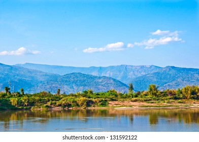 Beautiful mountain, river and  Sky