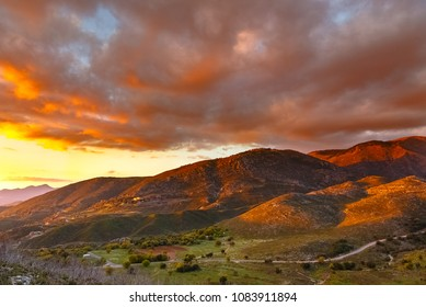 Beautiful mountain scape in the sunset in Greece