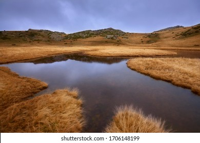 Beautiful mountain scene. Small pond with crystal clear water high in the mountains, surrounded with vast pastures