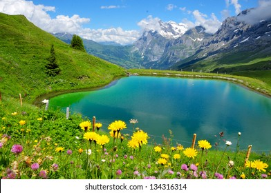 Beautiful mountain scenery with lake