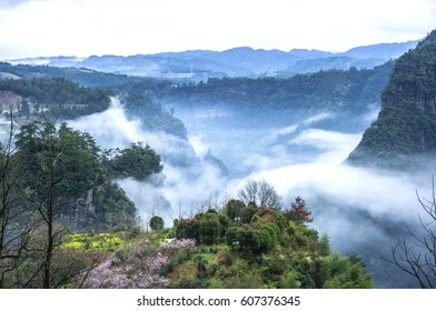 The beautiful mountain scenery in the mist