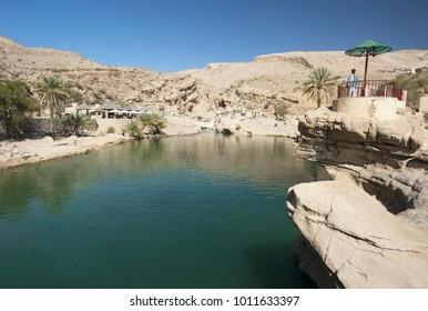 The beautiful mountain scenery. Wadi Bani Khalid. Oman.
