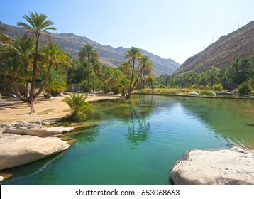 The beautiful mountain scenery. Wadi Bani Khalid. Oman.
