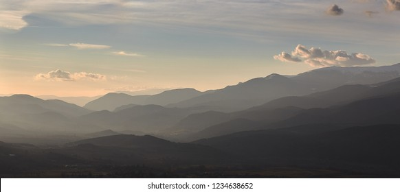 Beautiful mountain silhouette from Spain, near the small village Alp