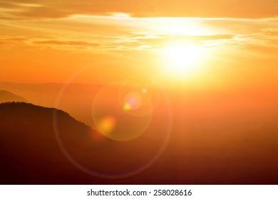 Beautiful mountain and sky view fair sun light