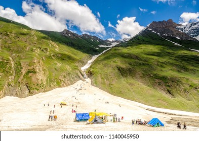 Beautiful mountain summer glacier sking of zero points, Jammu and Kashmir state, India