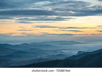 Beautiful mountain. Sunrise  view point at Pu chi fa in ChiangRai, Thailand