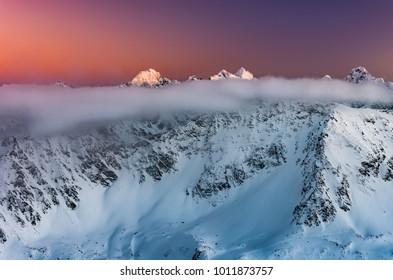Beautiful mountain sunset panorama, winter Tatra mountains, Poland