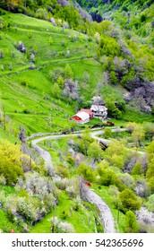 beautiful mountain terrain in Armenia similar to the Swiss Alps,near the town of Vanadzor.
