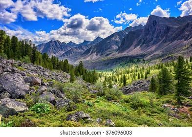 Beautiful mountain terrain in Siberia . Eastern Sayan . Russia