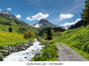 beautiful mountain valley near Klosters on a summer day with a small creek running through it