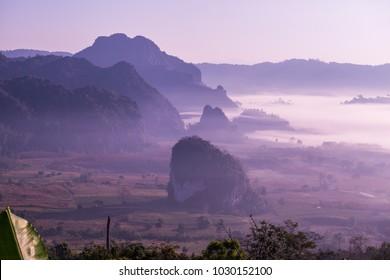 Beautiful Mountain View of Phu Langka National Park, Thailand.