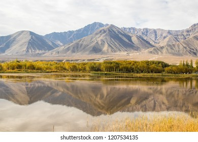 Beautiful mountain view with river in the middle of high mountain in Leh Ladakh
