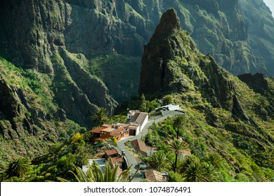 Beautiful mountain village Masca in Tenerife. Landscape in tenerife.
