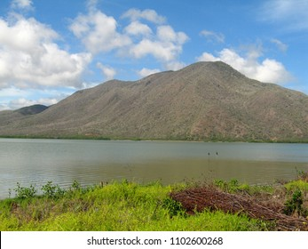 Beautiful mountain in wetlands of Unare Lagoon Ramsar site in Anzoategui Venezuela