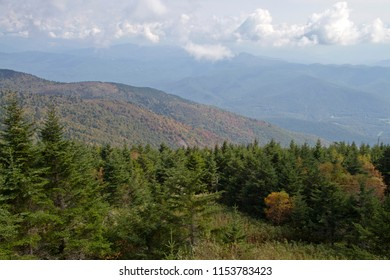 Beautiful, mountain wilderness view from Mount Mitchell State Park in North Carolina, the highest peak of the Appalachian Mountains