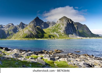 beautiful mountainous landscape around Norwegian fjord in sunny day