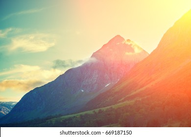 Beautiful mountains against sunset sky.  Nature Norway