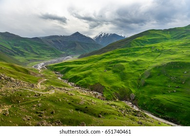 Beautiful mountains and hills in the north of Azerbaijan near Quba in the village Khinaluq
