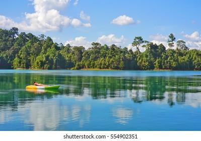 Beautiful mountains lake river sky and natural attractions in Rajjaprabha Dam at Khao Sok National Park, Surat Thani Province, Thailand.