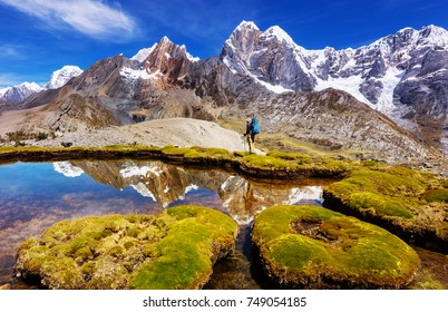 Beautiful mountains landscapes in Cordillera Huayhuash, Peru, South America